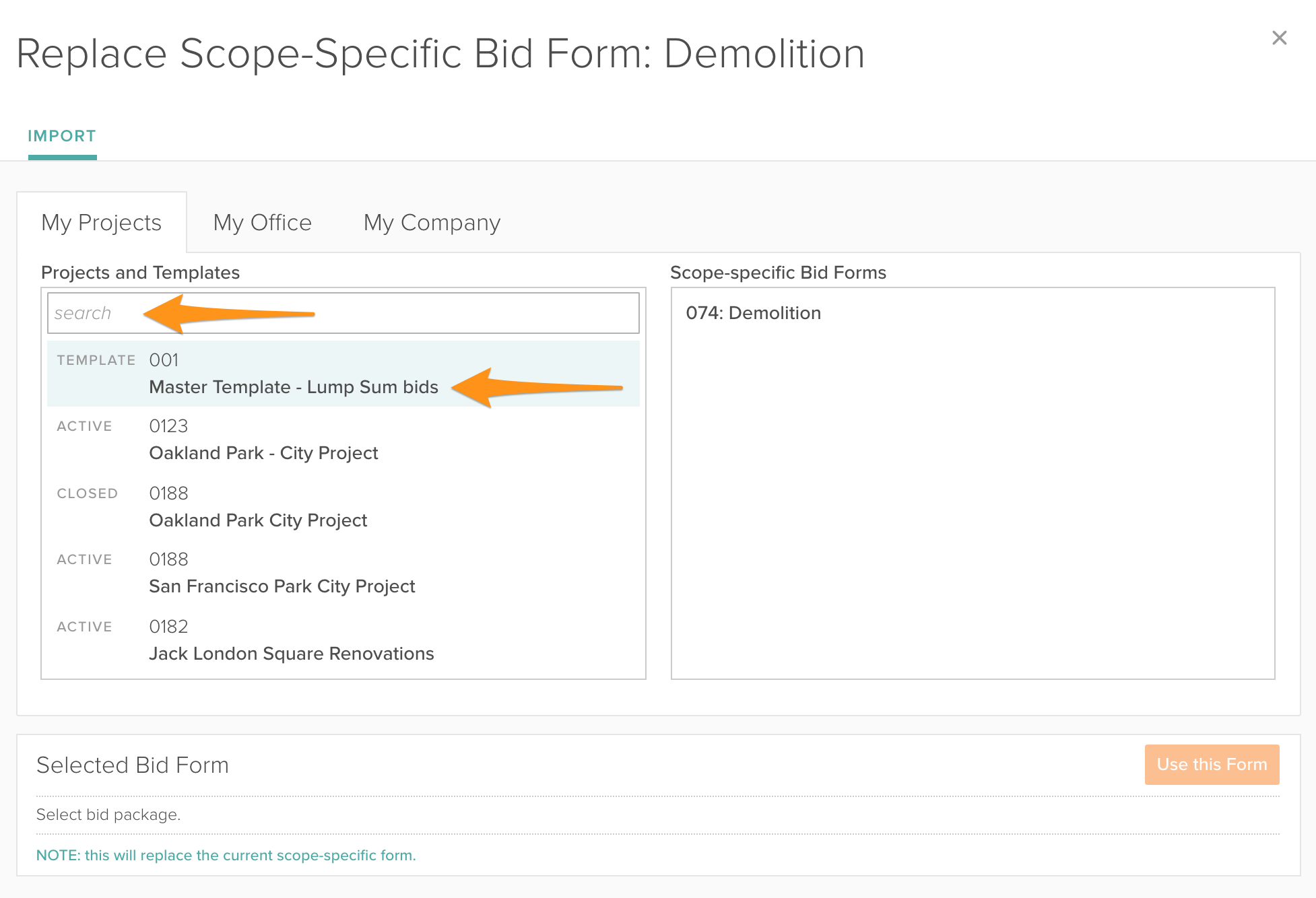 how general contractors can import bid form templates bc pro